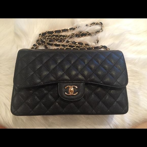 f1807f3f1eaa CHANEL Handbags - Chanel Classic Double Flap Jumbo Caviar leather